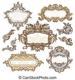 set of royal vintage frames vector illustration