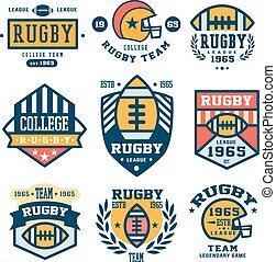 Set of Rugby Emblem Vector Illustrations in Flat Design