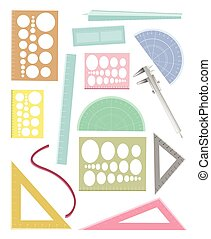 Set of Rulers and A Protactor on White Background