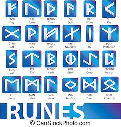 set of runes vector illustrations icons symbols