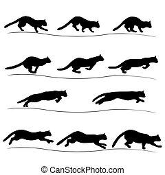 Set of running black cat silhouettes