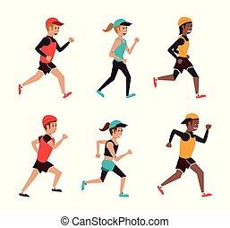 Set of running cartoons