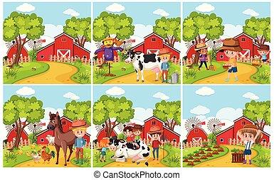 Set of rural farmland