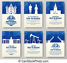 Set of Russia country ornament illustration concept. Art...