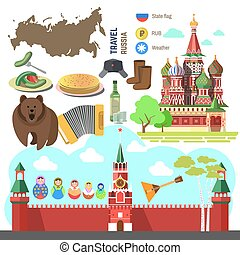 Set of Russia travel symbols.