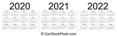 Set of russian 2020, 2021, 2022 year vector calendars.