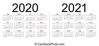 Set of russian 2020, 2021 year vector calendars.