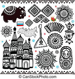Set of russian folcloric ornamental elements and symbols