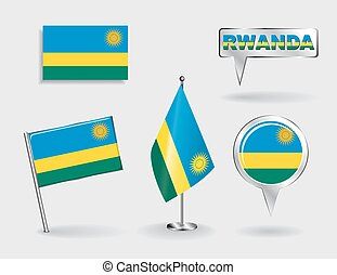 Set of Rwandan pin, icon and map pointer flags. Vector...