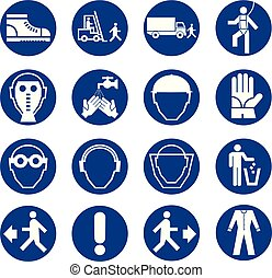 Set of safety equipment signs. Mandatory construction and industry signs. Collection of safety and health protection equipment. Protection on work.