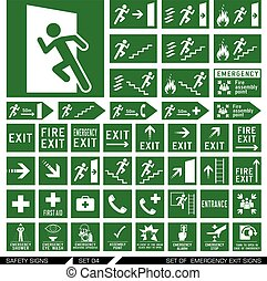 Set of safety signs. Exit signs. - Set of emergency exit...