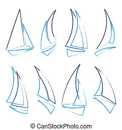 sailboat icons - set of sailboat icons, vector illustration