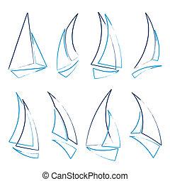 sailboat icons - set of sailboat icons, vector illustration