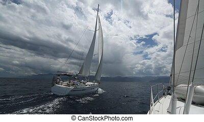 Regatta on the sea. Yachting. Saili - Set of Sailboats....