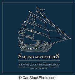Set of sailing boat and nautical