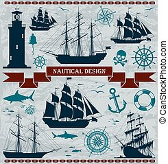 Set of sailing ships with nautical design elements. Vector...