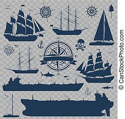 Set of sailing ships, yachts and tankers