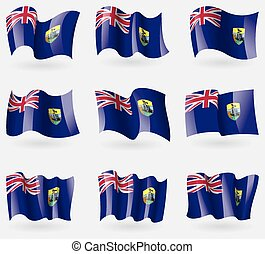 Set of Saint Helena flags in the air. Vector