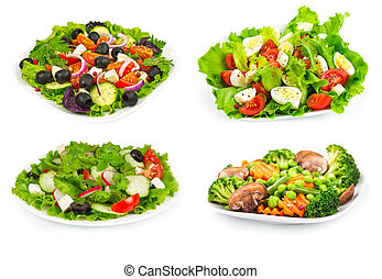 Set of salad with fresh vegetables