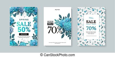 Set of sale banner with paper flowers on a white background.