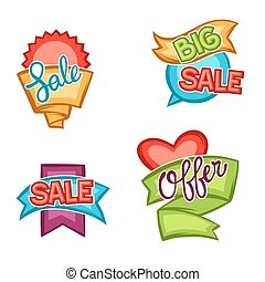 Set of sale banners, tags and labels in cartoon style