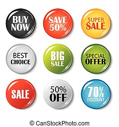 Set of sale buttons and badges