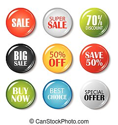 Set of sale buttons and badges. Product promotions. Big sale, special offer, 70% off.