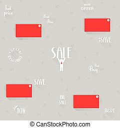 Set of sale labels and icons design with long shadow, vector illustration