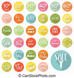 Set of sale labels icons design with long shadow, vector eps10