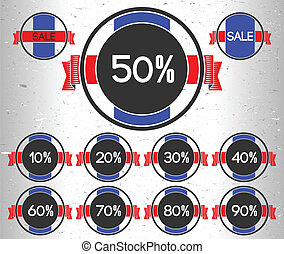 Set of sale labels with percents