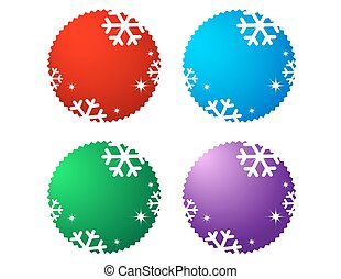 set of sale labels with snowflake