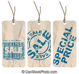 Set of sale paper tags - Set of crumpled paper tags for sale...