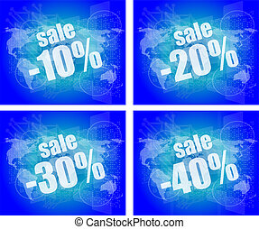 set of sale percentage words on business digital touch screen