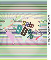 set of sale percentage words on business digital touch screen vector illustration