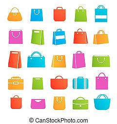 Set of sale shopping bag color icons isolated on white background.Vector design elements, business signs, logos, identity, labels and other branding objects for your business. Vector Illustration