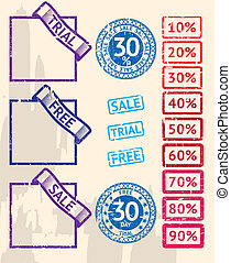 Set of sale stamps with percents