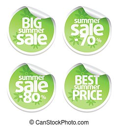 Set of sale stickers green