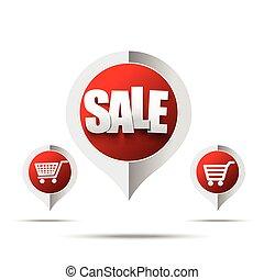 Set of sale tag pin banner - vector illustration 006