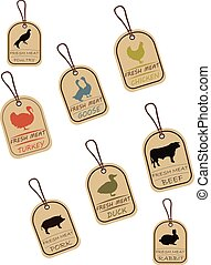 Set of sale tags, meat labels. Label with illustration of...