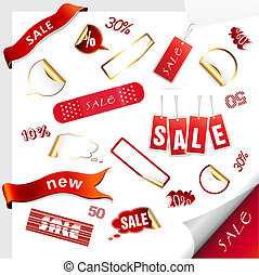 Set of sale tags. Vector