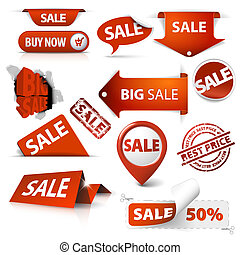Set of sale tickets, labels, stamps, stickers, corners, tags