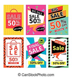 Set of sale website banner templates. Social media banners for online shopping. Vector illustrations for posters, email and newsletter designs, promotional material.
