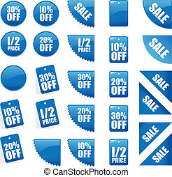 set of sales signs - set of blue sales signs