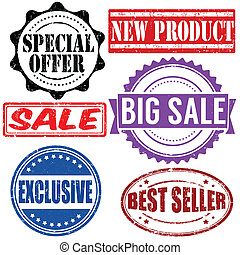 Set of sales stamps