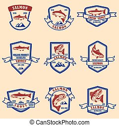 Set of salmon and trout emblems. Design element for logo, label, sign, poster, banner.