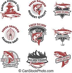 Set of salmon fishing emblems. Design elements for logo, label,