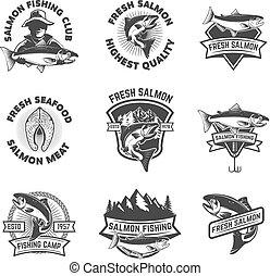 Set of salmon fishing emblems. Seafood. Design elements for logo