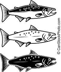 Set of salmon icons on white background. Design element for logo, label, emblem, sign.