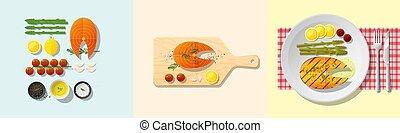 Set of salmon steak recipe , preparation cooking and plating 2