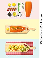 Set of salmon steak recipe , preparation cooking and plating 3